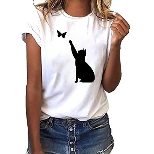 FRAUIT Damen Katze Print T-Shirt Übergröße Tees Shirt Cat Butterfly Kurzarmshirt Oansatz Drucken Tops Bluse Mode Lose Oberteil Basic T-Shirts Elegant Streetwear Weich Bequem Kleidung -