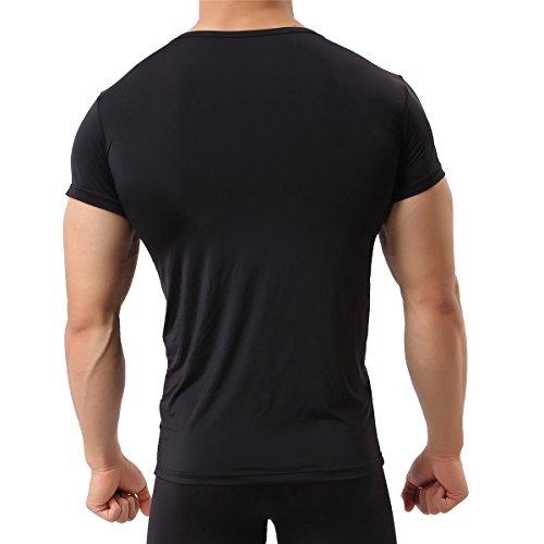 Herren Unterhemd aus Mesh Transparent Shirt Stretch T-shirt Unterwäsche Reizwäsche Black