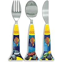 Blaze Shaped Cutlery, 3 piece, Knife/Fork/Spoon, Blue