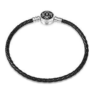 EMEMcharm Armband Silber Leder passen Pandora Charm – Schwarz GM01