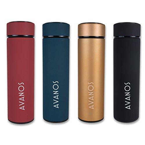 Avanos Thermoskanne | Thermosflasche | Trinkflasche | 450 ml | Teesieb | Kaffee | Tee | Edelstahl | Sport | Büro | Rot