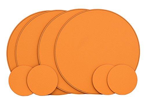 Nikalaz Rund 4 Platzsets und 4 Untersetzer aus Recyceltem Leder, Tischsets, Tisch-Matten, Platzdeckchen 33 cm und Untersetzer 10cm (ORANGE) Runder Tisch Glas Abdeckung