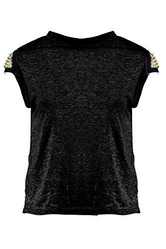 Femmes Noir Diana T-shirt Clouté Aux Épaules Noir