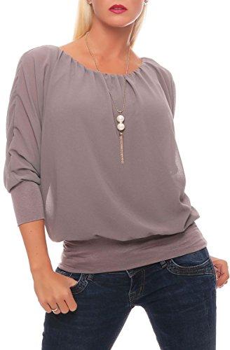 Malito Damen Bluse mit Passender Kette | Tunika mit ¾ Armen | Blusenshirt mit breitem Bund | Elegant - Shirt 1133 (Fango)