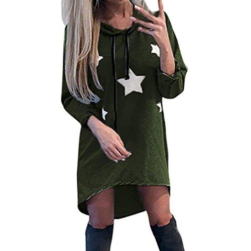 Sweatshirt Damen Sunday Pentagramm Gedruckt Kleid Hoodies Sterne Gedruckt Mini Kleid Freizeit Kapuzepullover (Grün, XL) (Lace Gedruckt Top)
