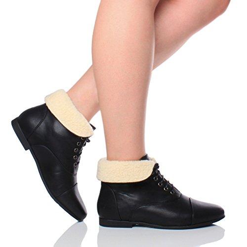 Damen Kleine Absatz Flach Schnüren Umklappen Altmodische Stiefeletten Größe Schwarz mit Pelz