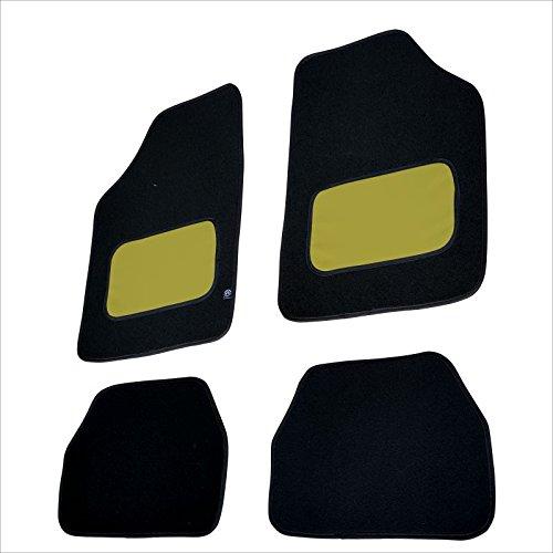 akhan fum22 – Paillassons Pieds Tapis Voiture Noir/Jaune Textile Cuir Kit