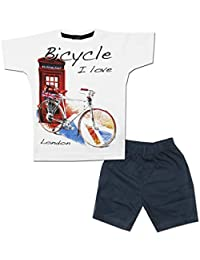 Kid's Care Baby Boy Baby Girl Printed Cotton T-Shirt and Half Pant Set for Kids(EX-016)