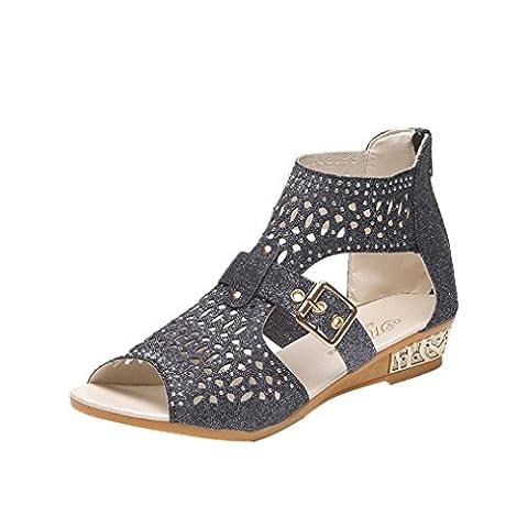 Manadlian ♥ Damen Sandalen ♥ Sommer Frauen Wedge Sandalen Mode Fisch Mund Pumps Höhle aus Schuhe (36, Schwarz)