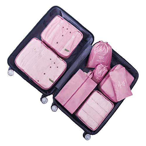 DoGeek - 7pack Organizer Valigia Cubi Organizzatori Organizzatori di Viaggio Cubi Imballaggio Cubi di Imballaggio Packing Cubes - Confezione da 7 taglie (8 pcs rosa)