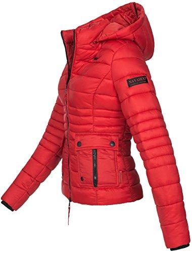 Navahoo Damen Jacke Steppjacke Übergangsjacke gesteppt Kapuze 11 Farben B602 Rot