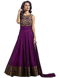 Pramukh Fashion Women's Net Gown with Jacket (Coper Purple)
