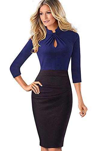 MisShow Damen Vintage Langarm Elegant Kleid Business Party Cocktailkleid Knielanges Abendkleid Blau XL
