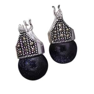 Qiyun Bling ronde douce de perle de boule Totem chanceux Sculpte .925 Sterling Silver Stud Boucles d'oreilles Nuit etoilee -