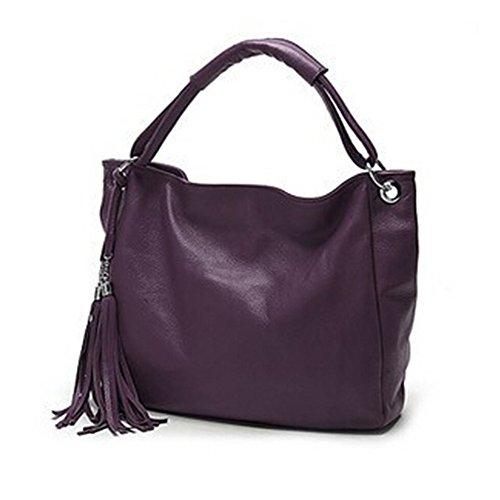 BYD - Donna Female Borse a mano Colore puro High Quality PU Leather Mutil Function Fashion School Bag Work Office Bag Borse Tote Bag Fringe Viola