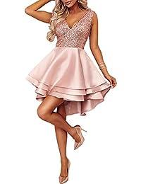 1868b6c6b88d Ancapelion Vestito da Donna con Scollo a V Mini Abito da Festa Senza  Maniche con Paillettes Vestito Aderente a…