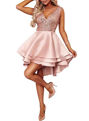 Ancapelion Damen Kleid Sexy V-Ausschnitt Mini Kleider mit Glänzend ärmellose Pailletten Schlank Kurz Ausgestellt Skater Kleider für Party/Abend/Verein/Cocktail/Formal, Rosa, L( EU 44-46)