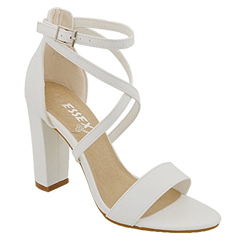 Essex glam sandalo donna cinturino alla caviglia tacco a blocco fibbia festa (uk 3 / eu 36 / us 5, bianco pelle sintetica)