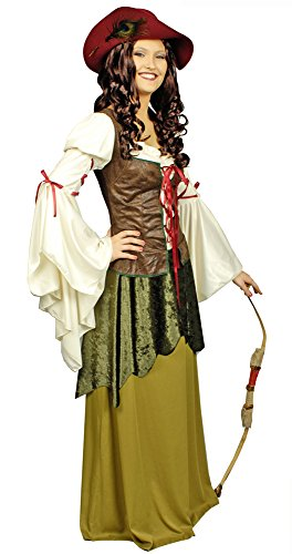 Kostüm Damen Magd Mittelalterliche - Generique - Mittelalterliches Magd-Kostüm für Damen grün-beige-braun M