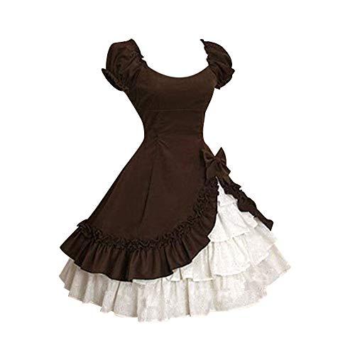 Lolita Kleider Damen Vintage Kleid Abend Cocktailkleid Mittelalterliche Maid Cosplay Kurzarm Quadratischen Kragen Gekräuselten Schichten Gothic Kleid Karneval Fasching Fasnacht ()
