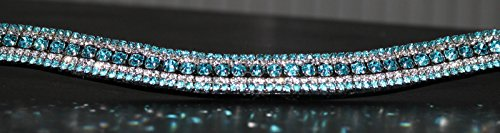 Equipride Beautilful Curve Shape Bling Crystal Browband Sparkly Turquoise 4
