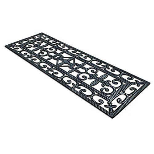 Rutschfeste Relief Gummimatten | Stufenmatten außen mit dekorativen Ornamenten | Antirutschmatten für Treppe im Außenbereich | Verschiedene Größen, einzeln oder im Set (1 Stück, 25x65 cm)