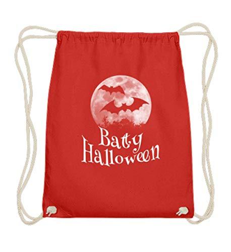 Shirtee Batty Happy Halloween - gruselige Fledermäuse vor stylischem Vollmond an Samhain - Baumwoll Gymsac