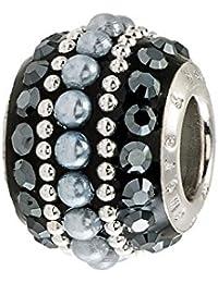 Amor y besos: plata, color negro y cristales de Swarovski y perlas Bling del grano
