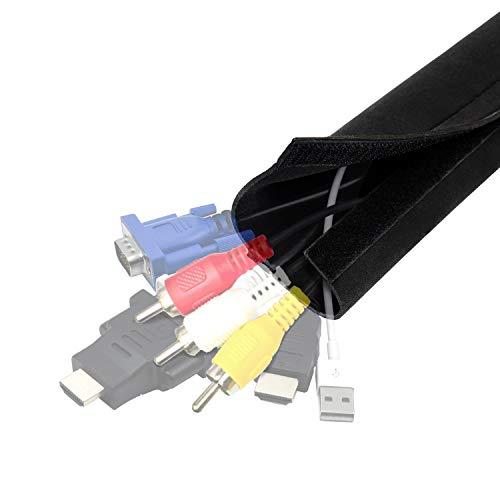 YOSH Kabelschlauch Kabelkanal Klettverschluss 200 CM(80 Zoll) flexibel Neopren Kabelhalter Organizer Kabelhülle für Schreibtisch TV Computer Hifi Heimkino, kabel versteckt, gebündelt, geschützt