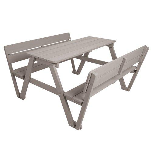 roba Kinder Outdoor Sitzgruppe 'Picknick for 4', Sitzgarnitur mit 2 Bänken, 1 Tisch und 2 Lehnen aus Holz für drinnen und draußen, wetterfest, grau lasiert