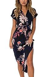 ECOWISH Sommerkleider Damen Kurzarm V-Ausschnitt Strand Blumen Kleider Abendkleid Knielang Schwarz XL