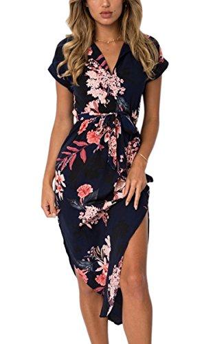 ECOWISH Sommerkleider Damen Kurzarm V-Ausschnitt Strand Blumen Kleider Abendkleid Knielang Schwarz L -