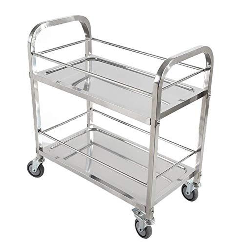 Npz * scaffale - carrelli per la tavola di raccolta carrello multifunzione per la consegna di alimenti in acciaio inossidabile con 2 piani carrello di stoccaggio (size : 95 * 50 * 95cm)
