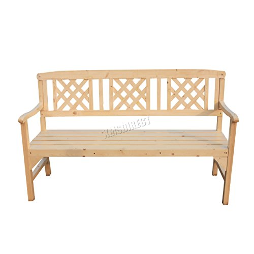 WestWood Outdoor Home 3 Seat Chair Garden Porch Bench Indoor Seater Wood Wooden Spruce Frame Patio Deck Park Yard Furniture WGB01 Natural