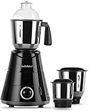 Solidaire 750-Watt Mixer Grinder with 3 Jars (Black) (SLD-750-B)