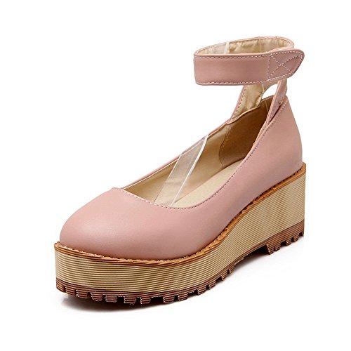 Senhoras Allhqfashion Material Macio Ao Redor Toe Salto Médio Gancho E Laço Bombas Rosa Sapatos