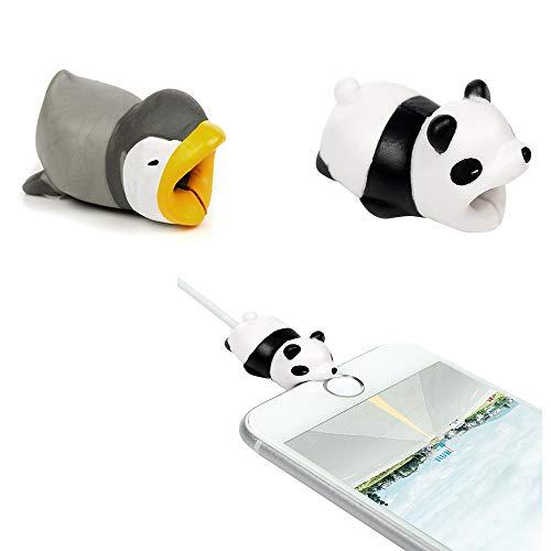 Tier Kabel Protector Silikon iPhone Lightning Bite Aufladekabel Datenkabel Kabelbeißer Kabelschutz Ladekabel Zubehör USB Ladekabel Schmuck für Apple iPhone XS Max XR iPhone 8 7 6S iPad-Pinguin Panda