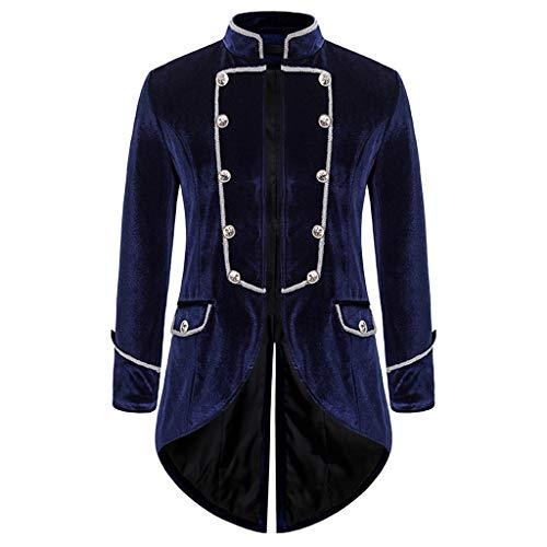 Aoogo Herren Langarm-Mantel Frack Jacke Gothic Gehrock Normallack Mode Steampunk Retro-Smoking Männer Uniform Kostüm Party Oberbekleidung Plus Size