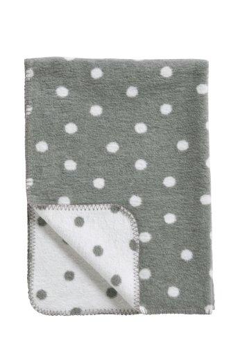 Meyco 1531052 Babydecke / Kuscheldecke aus 100 prozent Baumwolle, 75 x 100 cm, Punkte grau / weiß