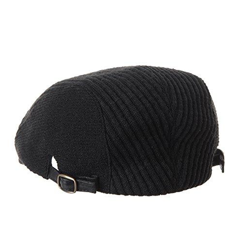 WITHMOONS Béret Casquette Chapeau Flat Cap Knit Ribbed Stripe Newsboy Hat Winter Ivy Hat LD3535 Noir