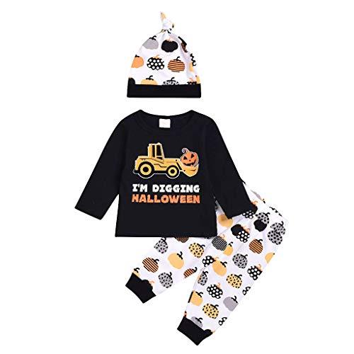 Jaysis Baumwollmischung Kinder Langarm Halloween Kostüm Set Baby Kleidung Set Kleinkind 3 Stücke Top + Cartoon Druck Hose + Hut Outfit Festlich