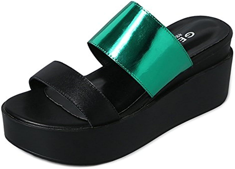 Zapatillas ZHANGRONG- Nuevas Mujeres Mujer BAJO Media Alto Talón Cuñas Strappy Peep Toe Sandalias Zapatos (Color...