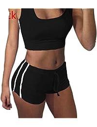 Juleya Juegos Yoga Mujer Bra + Shorts Traje de Deporte Mujer Chándal cómodo Suave Raya Tops Pantalones Deportivos Equipo de Gimnasia para Correr, Yoga y Ejercicio