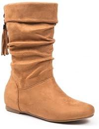 Ideal Shoes - Bottes effet daim avec franges à l'arrière Pietrina