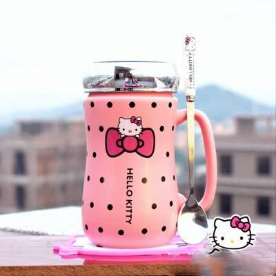 Cvxgdsfg Cartoon Hello Kitty Keramik Wasserflaschen Lady Girl 430ML Wasserkocher Becher Mit Tasse Matte Löffel Deckel Kann Als Spiegel Verwenden (Color : Color 2) (Becher Kitty Hello Keramik)