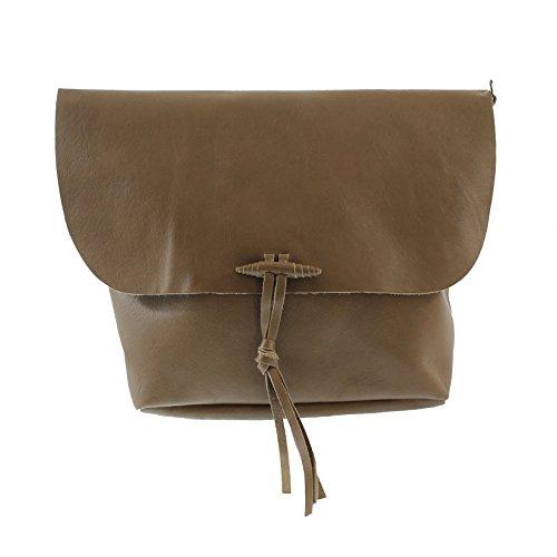 CTM Le sac à bandoulière de la femme, véritable cuir souple italien fabriqué en Italie 32x24.5x4 Cm