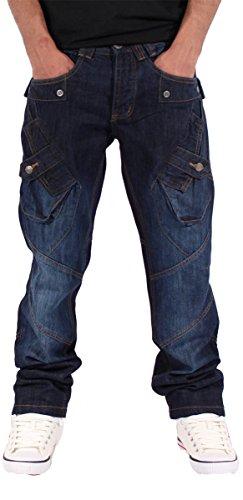 Unknown Herren Straight Leg Jeanshose blau blau 38, 40, 42, 44, 46, 48 Dunkelblau
