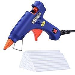 TOPELEK Hot Glue Gun, Mini Hot Glue Gun with 50 pcs Melt Glue Sticks - 20W Glue Gun Heats up Quickly for DIY Arts, Hobby, Craft, Mini, Metal, Wood, Glass, Card, Fabric, Plastic, Ceramics (Blue)