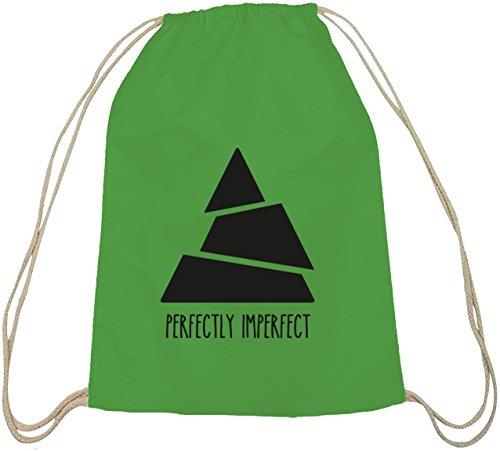 Shirtstreet24, Perfectly Imperfect, Triangle Dreieck Baumwoll natur Turnbeutel Rucksack Sport Beutel grün natur