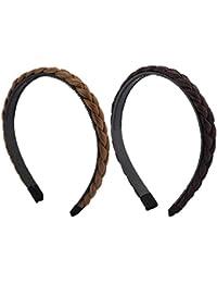 BONAMART ® 2 x Elegant Elastisch Haarband Geflochten Braun Blond Stirnband Perücke Damen